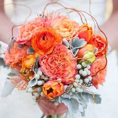 Orange rustic flowers with dusty miller leafs wedding bouquet, very pretty! #weddingboquet #weddingbouquets #bridalflower #weddingflower #bridalbouquet #