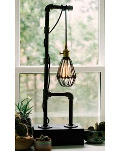 Caged Bulb Vintage Pipe Lamp
