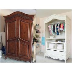 Before and after of this gorgeous armoire in the nursery. I decided to leave the doors off and my wonderful hubs lined the back with beadboard. This will be Caroline's closet for the time being paint color: Behr Cottage White that I made into chalk paint. Pallet Furniture Plans, Diy Home Furniture, Refurbished Furniture, Baby Furniture, Paint Furniture, Repurposed Furniture, Furniture Projects, Furniture Makeover, Wicker Furniture
