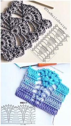 Cansada de encontrar gráficos sem qualidade ou incompletos na internet? Toque na imagem e garanta nosso guia com gráficos exclusivos Lindos pontos, # ✂❤ Col Crochet, Crochet Stitches Free, Crochet Diagram, Crochet Chart, Crochet Blanket Patterns, Crochet Motif, Double Crochet, Easy Crochet, Free Crochet