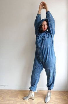 d060508cfd4a Vintage 60s Hooded Denim Coveralls  M Setlow Workwear Jumpsuit   XL