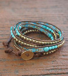 Turquoise mix Wrap bracelet with Seed beaded Boho от G2Fdesign