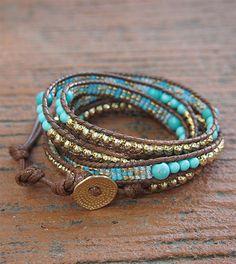 Turquoise mix Wrap bracelet with Seed beaded, Boho Wrap Bracelet