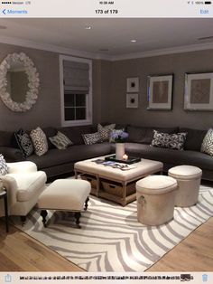 love the rug in this family room