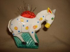 "Vintage Art Deco Porcelain HORSE DONKEY Pincushion ~ Made in Japan ~ Figural Pin Cushion (4"" x 3-1/2"" h) by PastPossessionsOnly on Etsy"