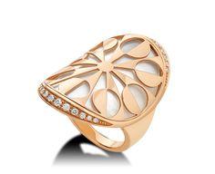 BVLGARI Intarsio pink-gold, mother-of-pearl and pavé-diamond ring Bulgari Jewelry, Luxury Jewelry, Gemstone Jewelry, Gold Jewelry, Pearl Jewelry, High Jewelry, Modern Jewelry, Jewelry Accessories, Bvlgari Ring