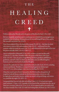 The Healing Creed Card (Special Price!) - Becky Dvorak - Healing And Miracles International - Prayer For Healing The Sick, Catholic Prayer For Healing, Healing Bible Verses, Healing Heart Quotes, Prayer For Health, Prayer And Fasting, Healing Words, Bible Prayers, Catholic Prayers