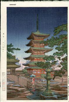 suchiya_Koitsu-No_Series-Rain_at_Horyuji_Temple_Nara