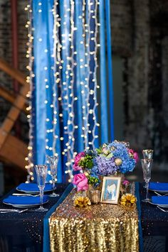 the blue with the lights for a photo drop or backdrop for the wedding line