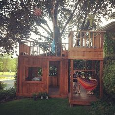 Maybe Mike can change the top of the playhouse to be flat with a railing? What kid wouldn't love a tree house? #buildachildrensplayhouse