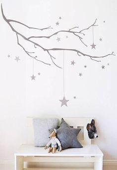 Star wall Stencil - Winter Branch With Stars Fabric Wall Sticker. Wall Stickers Uk, Nursery Wall Stickers, Star Nursery, Nursery Decor, Nursery Fabric, Nursery Ideas, Room Ideas, Decor Ideas, Baby Bedroom
