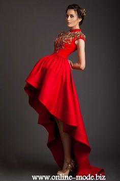 Rotes Designer Vokuhila Abendkleid Online