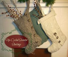 These up-cycled sweater stockings are a great way to reuse a sweater and make into a beautiful decoration or gift!! All you really need for this project is a sw…