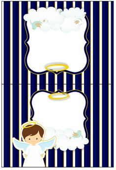 Cartão Agradecimento de Mesa Batizado Menino Azul Marinho e Branco
