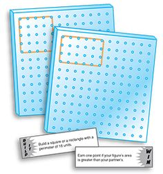 FREE Geoboard Game~  A new twist on a tried-and-true math activity.  Students play in pairs to create perimeter and area according to the card that is pulled.  Once both players have followed the directions, another card is pulled to determine the winner.  Great cooperative game with shared problem-solving!