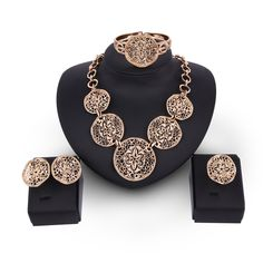 New Women Bohemia Style 2017 Women Carving Flower Statement Necklace Gold Color Hollow Wedding Bridal Jewelry Set  #Affiliate