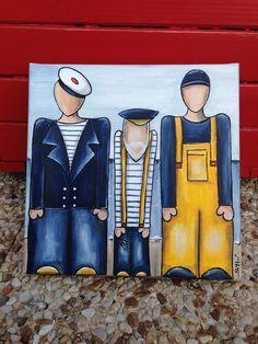 """""""Les trois pêcheurs"""" tableau : Peintures par les-toiles-de-mer-de-syl"""