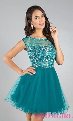 Short Sleeveless Prom Dress at PromGirl.com