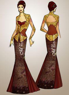 Desain Kebaya pesta : DS-KBY-001 Kami menerima design dan jahit busana batik (party, office, kasual, wisuda, kondangan, etc) contact SMS only ke 081.703.166.751 or sms/call 081.934639088 website : www.batikmaduretno.com Model Rok, Kebaya Wedding, Model Kebaya, Batik Kebaya, Brokat, Fashion Design Sketches, Mermaid, Formal Dresses, Cute