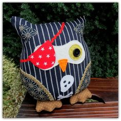 A pinstripe pirate owl cushion. 25cm tall. ( 10 inches ) Owl pillow. Owl decor. £18.00