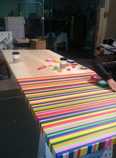 diy washi tape project, designing a colorful table, DIY projects