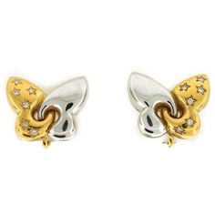 Pre-owned Bvlgari two Tone Gold Butterfly Earrings featuring polyvore women's fashion jewelry earrings gold butterfly jewelry 18k gold earrings 18k yellow gold earrings 80s earrings gold jewelry Gold Star Earrings, 80s Earrings, Jewellery Earrings, Butterfly Earrings, Gold Jewelry, Fine Jewelry, Bvlgari, Gold Stars, Fashion Jewelry
