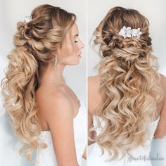Long and lovely half-up wedding hair style!