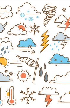 Premium Vector: Set of weather doodles illustration - Landing page collections & free resources for designers Weather Cards, Card Drawing, Bullet Journal Art, Cool Pins, Ucla Health, Mental Health, Doodle Drawings, Drawing For Kids, Scribble