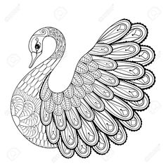 Hand drawing artistic Swan for adult coloring pages in doodle, zentangle tribal . - Hand drawing artistic Swan for adult coloring pages in doodle, zentangle tribal style, ethnic ornam - Mandala Coloring Pages, Animal Coloring Pages, Coloring Book Pages, Pages Doodle, Doodle Art Journals, Free Coloring Pictures, Printable Adult Coloring Pages, Quilling Patterns, Zentangle Patterns
