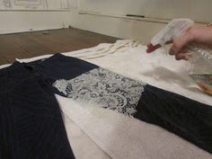 Bleach lace or tape design onto jeans.