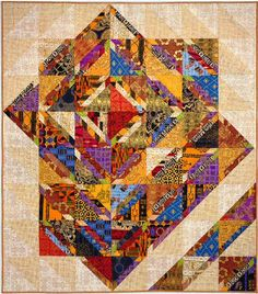 """Out of Africa - 70"""" x 80"""", by Jan Krentz (2002) Quilting Projects, Quilting Designs, Quilting Ideas, African Quilts, African Fabric, African Textiles, Contemporary Quilts, Quilt Modern, Modern Quilting"""