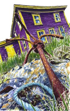 Art prints from original paintings by Newfoundland Artist Keli-Ann Pye-Beshara. This colourful house and handmade anchor is in Port Rexton, Newfoundland. House Quilt Block, Acrylic Painting Tips, Bright Pictures, Labrador, House On The Rock, Paint And Sip, Winter Trees, Newfoundland, Rock Art