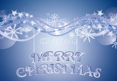 merry christmas over blue snowy background