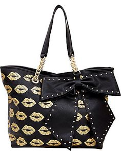 Black and gold lips with bow - betsey Johnson