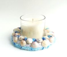 Shell Candle holder centrepiece home decor new by DunnCrafting