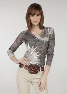Flower Burst Charcoal Long Sleeve t-shirt for corduroys or jeans