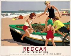 Redcar - Boat on Beach by National Railway Museum. Massive range of art prints, posters & canvases. Quality UK framing & Money Back Guarantee! Posters Uk, Train Posters, Railway Posters, Online Posters, Vintage Travel Posters, Poster Prints, Retro Posters, Art Prints, Vintage Ads
