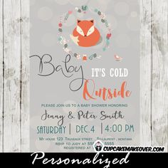 winter woodland animals baby shower decorations | woodland theme fox baby shower invitations baby it's cold outside ...