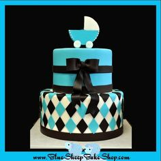 Brown And Blue Baby Shower Cake Brown and Blue Baby Shower Cake, also posted is the cake sketch. Fancy Cakes, Cute Cakes, Cake Sketch, Geometric Cake, Cakes For Boys, Boy Cakes, Colorful Cakes, Creative Cakes, Celebration Cakes
