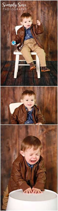 1 Year Old Boy Photo Shoot Ideas & Poses - Indoor Session - Faux Wood Backdrop - Leather Jacket - Billings, MT Child & Portrait Photographer
