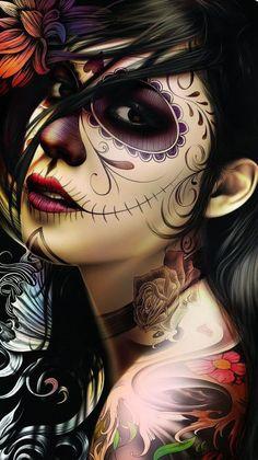 Day of the dead woman portrait Sugar Skull Girl, Sugar Skull Makeup, Sugar Skulls, Candy Skulls, Day Of The Dead Girl, Day Of The Dead Skull, Skull Girl Tattoo, Sugar Skull Tattoos, Chicano Tattoos