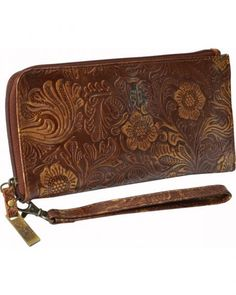 STS Ranchwear Women's Floral Tooled Leather Wallet