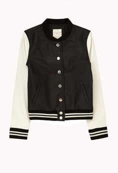 Faux Leahter Varsity Jacket | FOREVER21 girls Where are all the Varsity girls? #Juniors #FauxLeather #Jacket