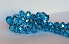8x10mm Transparent Light Teal Rondelle Glass Crystal Beads by RainandSnowBeading on Etsy