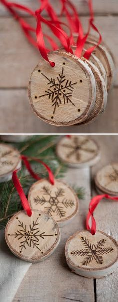handmade Christmas tags ... birch rounds with brown wood burnt snowflakes ... tags = ornaments to hang on the tree ... luv them!!