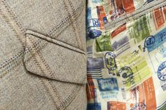 'Stamp collection' unique lining  The Glencoe Greylag bespoke jacket and waistcoat; We are thrilled to share with you this fresh contemporary design using authentic Yorkshire tweed in 100% pure new wool. With our made to measure service and design consultation in our London showroom our client Peter wanted to invest in lighter coloured tweed garments. He chose a beautiful eye catching and unique lining from our 'travel stamp'.