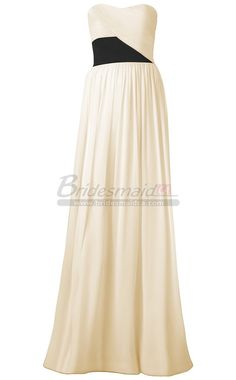 Chiffon Sweetheart Neck White Empire Waist Strapless Long Bridesmaid Dress BDS-CA313