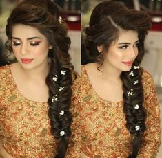 """Most recent Pictures Bridal Hairstyles pakistani Thoughts You have presently found """"usually the one,"""" harvested out your outfit as well as select the wedd Bridal Braids, Bridal Hairdo, Hairdo Wedding, Wedding Hair And Makeup, Hair Makeup, Bridal Makeup, Wedding Curls, Mehndi Hairstyles, Side Braid Hairstyles"""