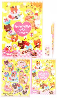 bears coffee cake Q-Lia stationery set with 5 pieces
