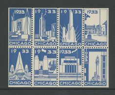 1933 Chicago Art Deco Block of Poster Labels 8 | eBay